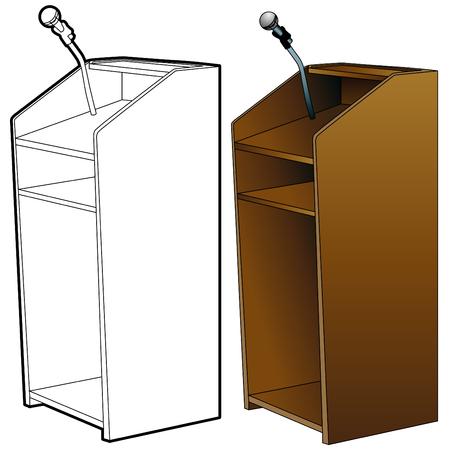 dais: An image of a podium set. Illustration