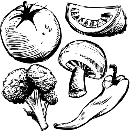 mushroom illustration: An image of a group of healthy food items. Illustration