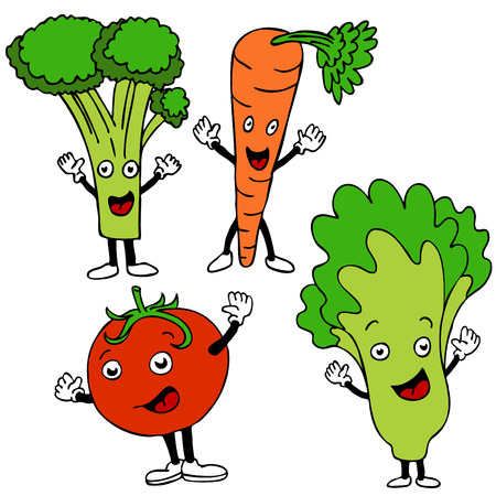A set of healthy food cartoon characters. Vector