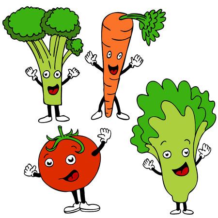 zanahoria caricatura: Un conjunto de personajes de dibujos animados de comida sana.  Vectores