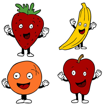 An image of fruit cartoon characters. Vector