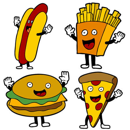 hot dog: An image of fast food characters.