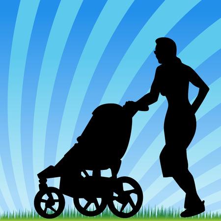 ジョグ: ベビーカーと一緒にジョギング親のイメージ。  イラスト・ベクター素材