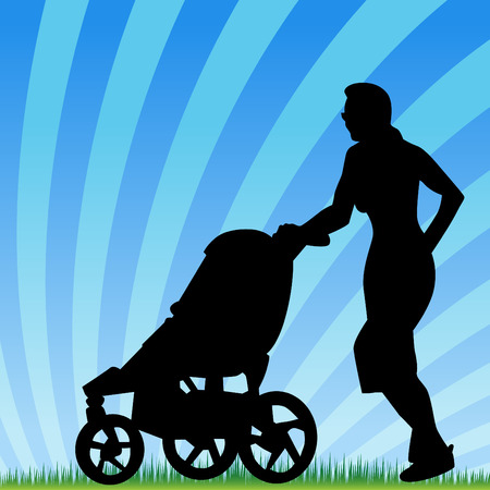 An image of a parent jogging with stroller. Vector