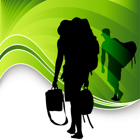 An image of tourist travelers. Stock Vector - 7649176