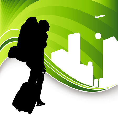 mochila: Una imagen de un viajero de mochila