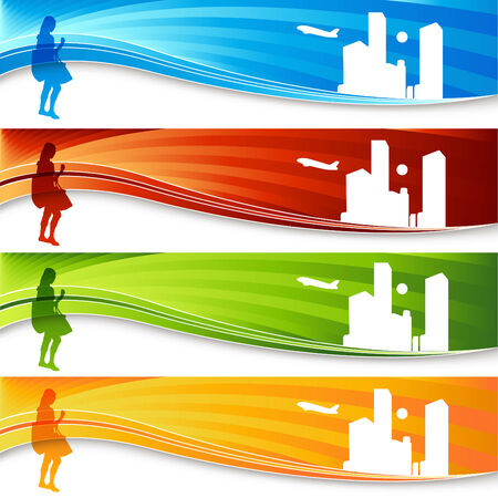 A banner set of a traveling woman. Stock Vector - 7684790