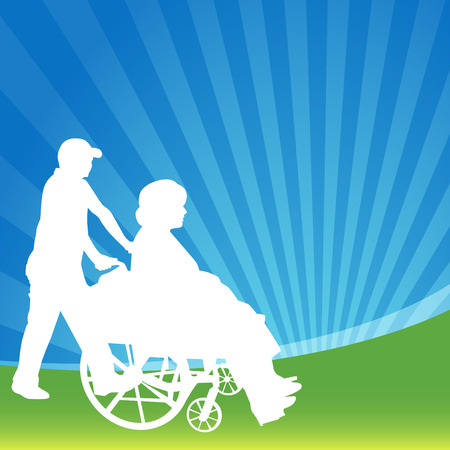 An image of a woman in a wheelchair being pushed. Ilustracja