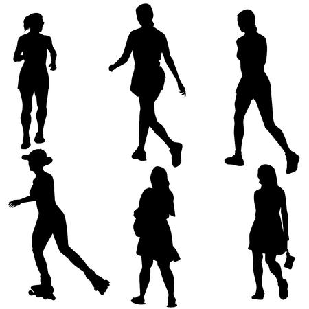 woman  shadow: An image of a women figure set. Illustration