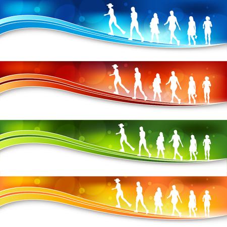 Eine Reihe von Banner mit aktiven Frauen Zahlen.