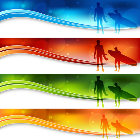 surfers: A set of banners with two surfers. Illustration