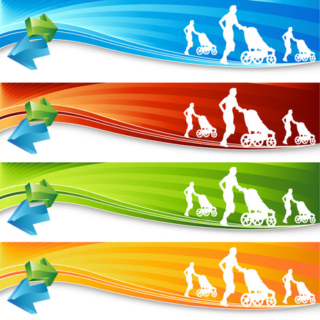 An image of an exercising mother with stroller - banner set. Vector