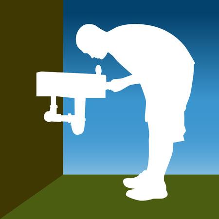sediento: Una imagen de un hombre en una fuente de agua.  Vectores