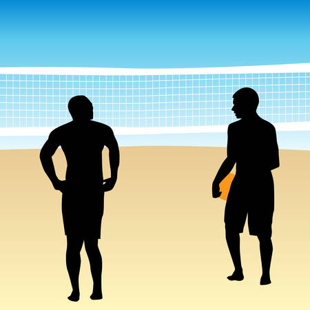 An image of volleyball players. Vector