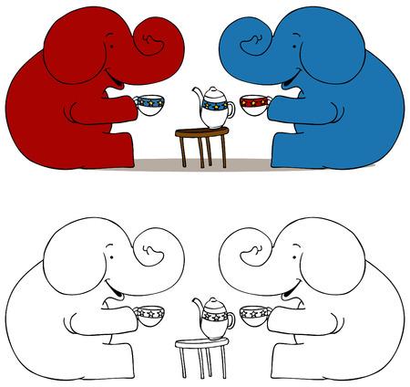 Een afbeelding van de thee partij.  Stock Illustratie
