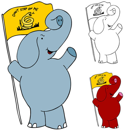 republicans: An image of a protesting elephant with tea party flag. Illustration