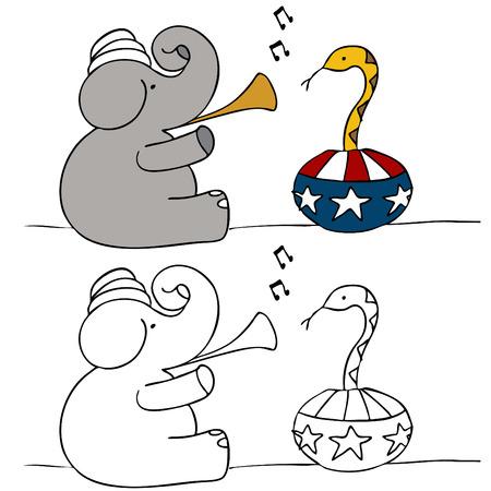 A political image of a elephant snake charmer. Vector