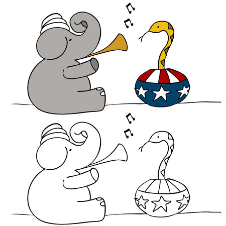 political party: A political image of a elephant snake charmer.