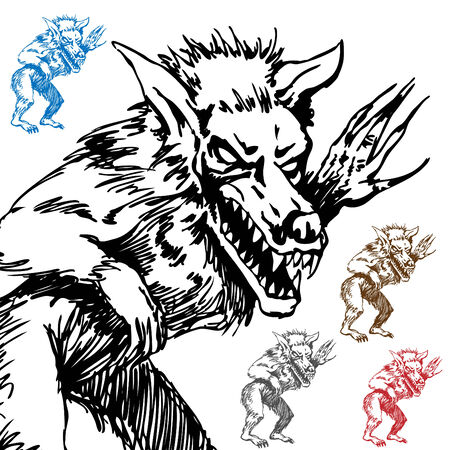 An image of a werewolf sketch. Vector