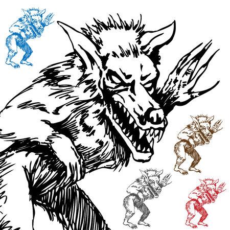 Een afbeelding van een weerwolf schets.