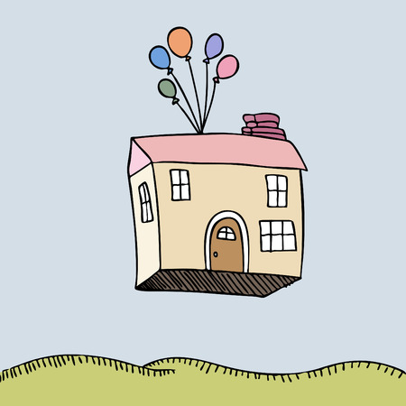 An image of a house floating away. Stock Vector - 7852361