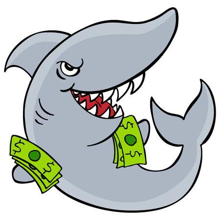 tiburon  de caricatura: Una imagen de un tibur�n de pr�stamo.  Vectores