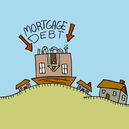 빚: An image representing an upside down mortgage.