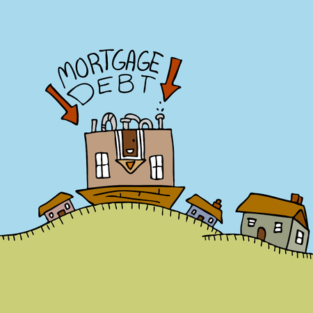 housing crisis: An image representing an upside down mortgage.