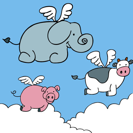 cartoon pig: An image of flying animals.