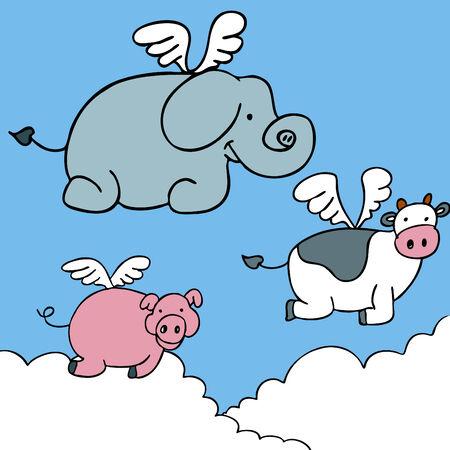 cerdo caricatura: Una imagen de volar de animales.