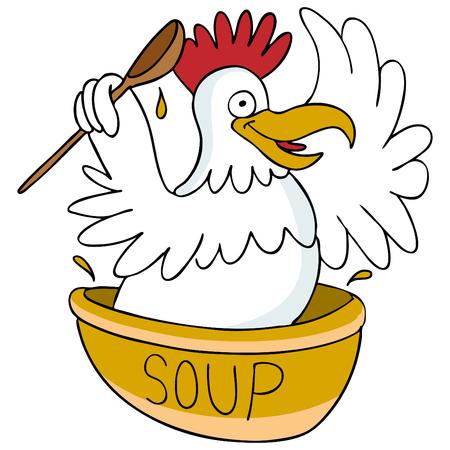 soup spoon: Een afbeelding van chicken soup.