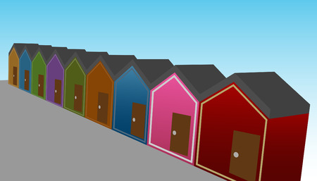 Een afbeelding van een rij van 3d huizen. Stock Illustratie