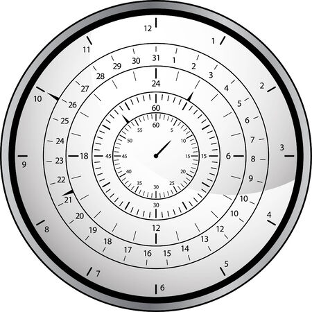 månader: An image of a clock with month, day, hour, minute, and seconds. Illustration