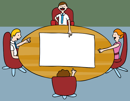 meeting: An image of a meeting of employees.