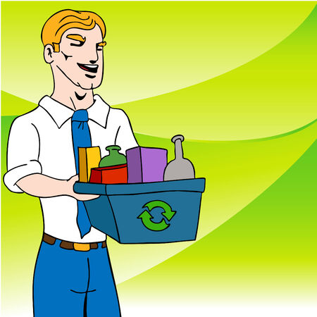 An image of a recycling businessman. Vector