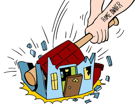 An image of a homeowner destroying house.