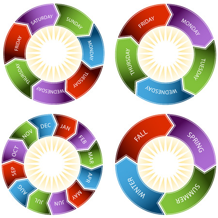 An image of a colorful time wheel. Vector