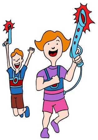 laser tag: An image of children playing laser tag. Illustration