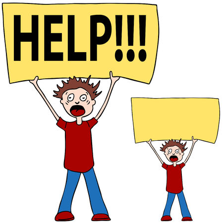 child holding sign: An image of a person shouting for help.