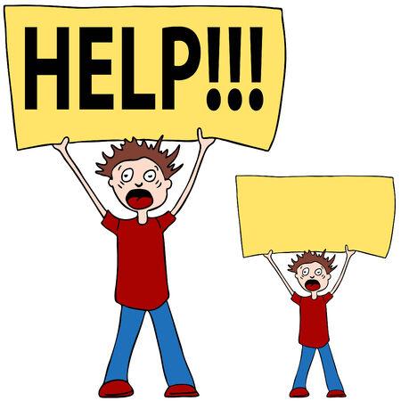 Ein Bild einer Person schreien für Hilfe. Standard-Bild - 7852726