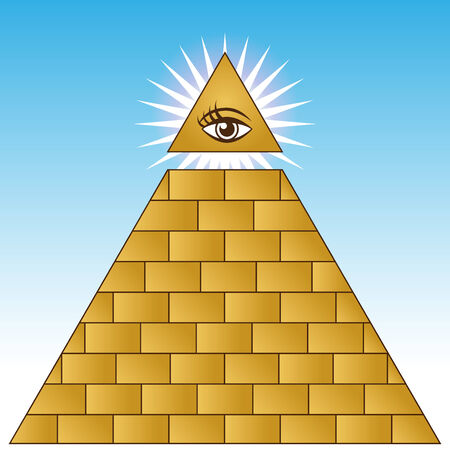 looking: An image of a golden eye financial pyramid. Illustration