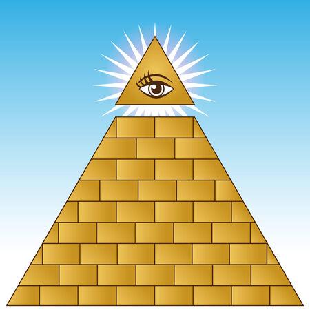 An image of a golden eye financial pyramid. Stock Vector - 7852737