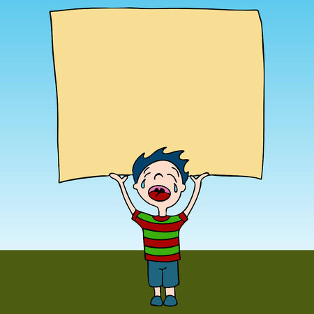 An image of a crying kid holding sign. Vector