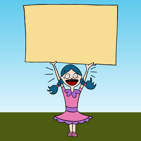 An image of a screaming girl holding sign. Vector
