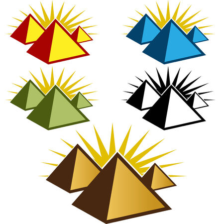 pyramid of the sun: An image of a pyramid icon set. Illustration