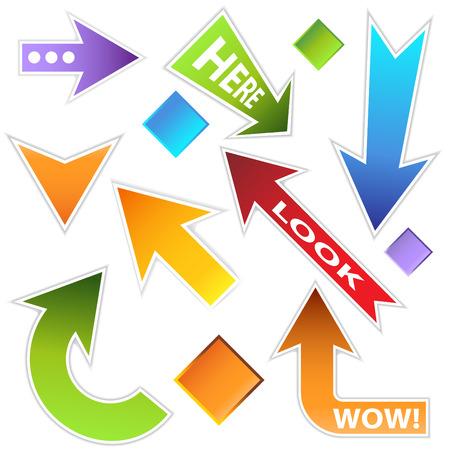An image of a message arrow set. Vektoros illusztráció