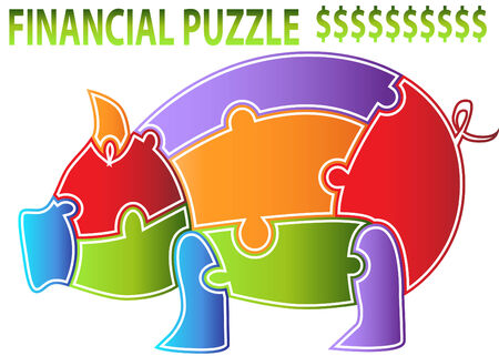 An image of a piggy bank puzzle. Vector