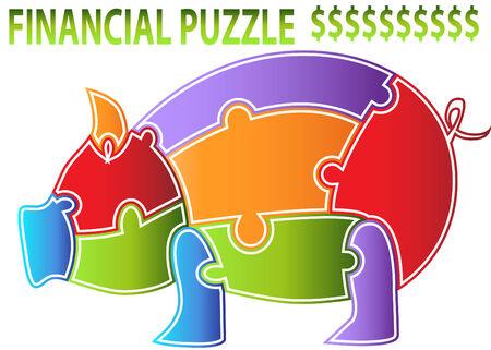 Een beeld van een spaar varken puzzel.