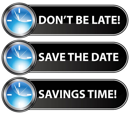 An image of save the date time buttons. Vector