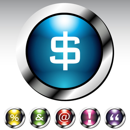 An image of a symbol glossy button metallic set. Vector